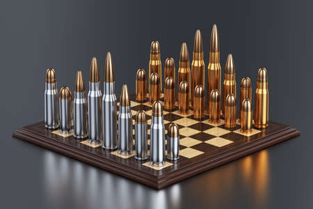 ammunition: 3d render of battle field with bullets on chess table on background with reflection