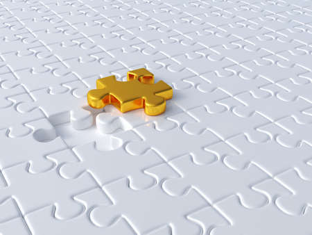 group  join: 3d render of white jigsaw background with golden one. Business concept Stock Photo