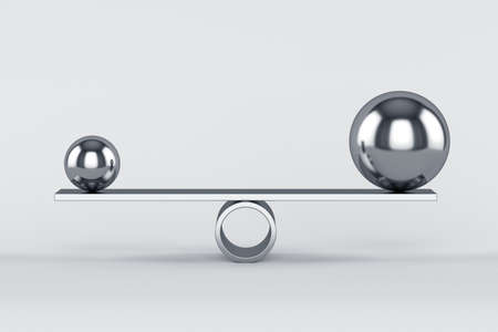 3d render of balanced chrome spheres. Concept of balance