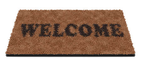 straw mat: 3d render of brown coir doormat with text Welcome isolated on white background  Stock Photo