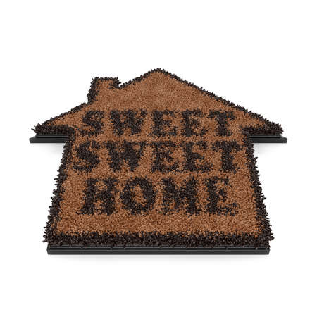 straw mat: 3d render of brown house shape coir doormat with text Sweet, sweet home isolated on white background