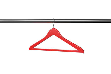 clothes rail: 3d render of red clothe hanger isolated on white background