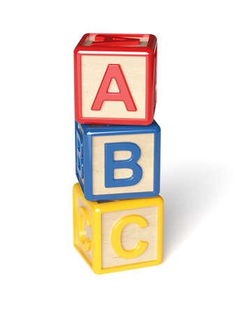 3d render of alphabet blocks isolated on white background photo