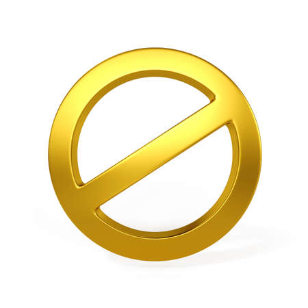 3d golden forbidden sign isolated on the white background  photo