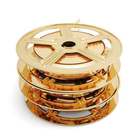 3d illustration of golden film reels stack isolated on white background  illustration