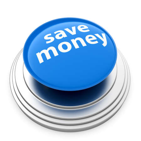3d button: 3d render of blue Save money button isolated on white background Stock Photo