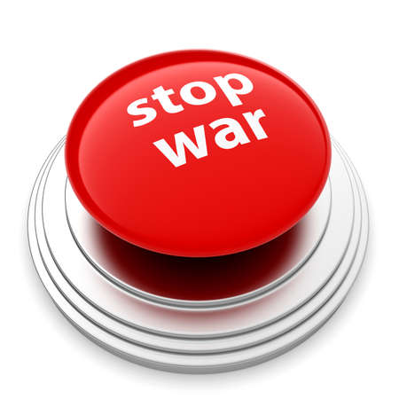 3d render of red STOP WAR button isolated on white background photo