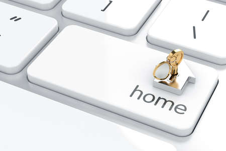 3d render of Enter button with home icon and golden key. Home concept photo