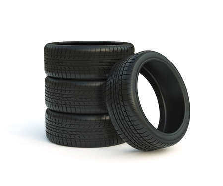 3d render of car tyres stack isolated on white background photo