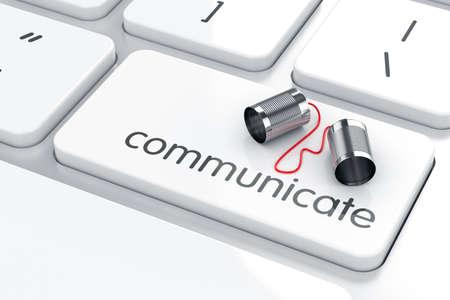 comunicar: 3d de la lata de teléfono en el teclado. Concepto de comunicación