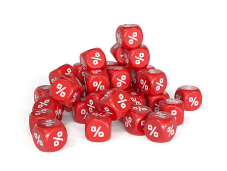 3d render of red percent dices isolater on white background. Marketing concept photo