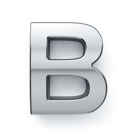 3d render of metalic alphabet letter simbol - B. Isolated on white background photo