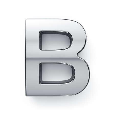 3d render of metalic alphabet letter simbol - B. Isolated on white background
