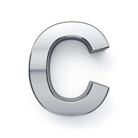 3d render of metalic alphabet letter simbol - C. Isolated on white background photo