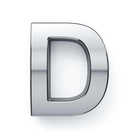 3d render of metalic alphabet letter simbol - D. Isolated on white background
