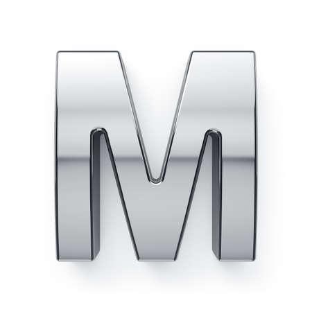 simbol: 3d render of metalic alphabet letter simbol - M. Isolated on white background