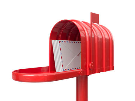 mail delivery: 3d illustration of opened red mailbox with letters isolated on white background Stock Photo