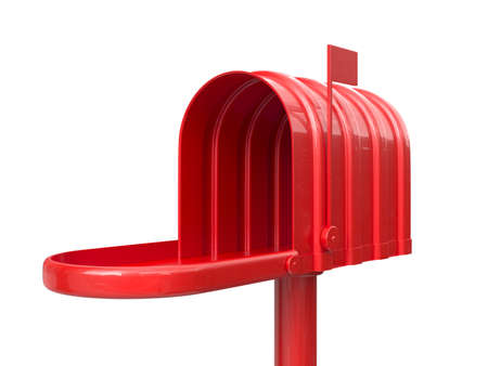 metal mailbox: 3d illustration of opened empty red mailbox isolated on white background Stock Photo