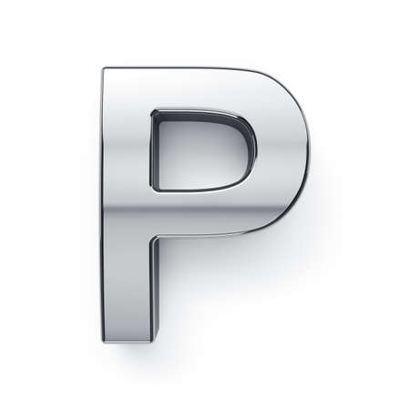 3d render of metalic alphabet letter simbol - P. Isolated on white background