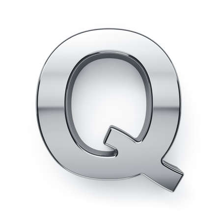 3d render of metalic alphabet letter simbol - Q. Isolated on white background photo
