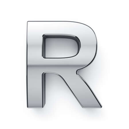 R: 3d render of metalic alphabet letter simbol - R. Isolated on white background