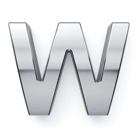 3d render of metalic alphabet letter simbol - W. Isolated on white background