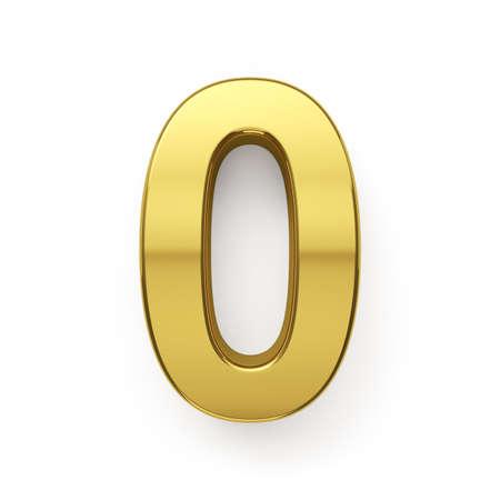 3d render of golden digit zero simbol - 0. Isolated on white background photo