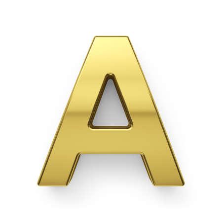 simbol: 3d render of golden alphabet letter simbol - A. Isolated on white background