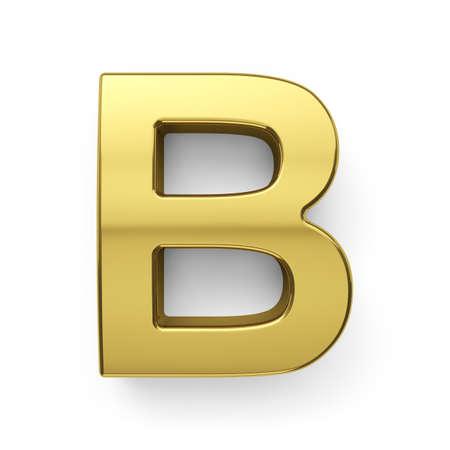 3d render of golden alphabet letter simbol - B. Isolated on white background photo