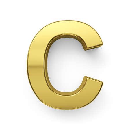 simbol: 3d render of golden alphabet letter simbol - C. Isolated on white background