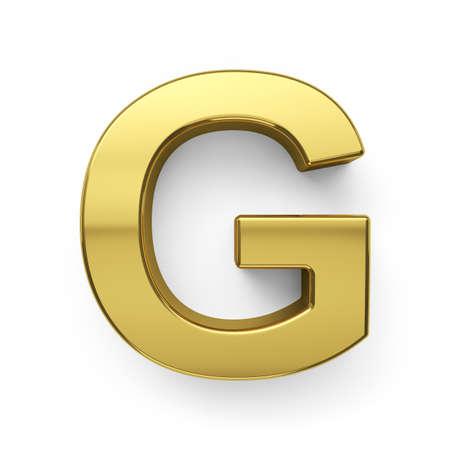 황금 알파벳 문자 simbol-G. 흰색 배경에 고립의 3d 렌더링