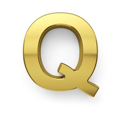3d render of golden alphabet letter simbol - Q. Isolated on white background photo