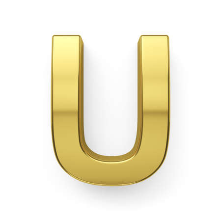 3d render of golden alphabet letter simbol - U. Isolated on white background photo