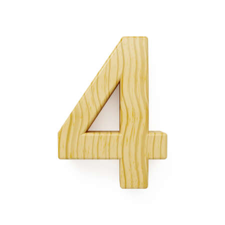 number four: 3d render of wood digit four symbol - 4. Isolated on white background