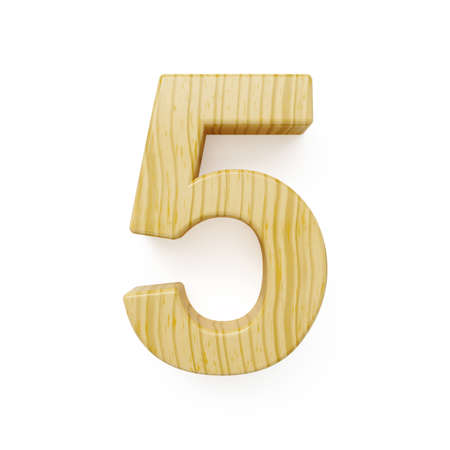 one of a kind: 3d render of wood digit five symbol - 5. Isolated on white background