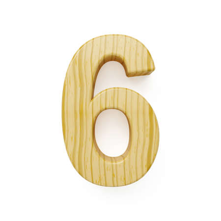 one of a kind: 3d render of wood digit six symbol - 6. Isolated on white background