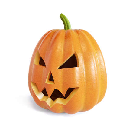 jack up: 3d render of the Jack O Lantern halloween pumpkin. Isolated on white background
