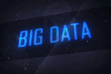 Big data concept. Business, technology, internet and networking concept - big data text on virtual screens  photo