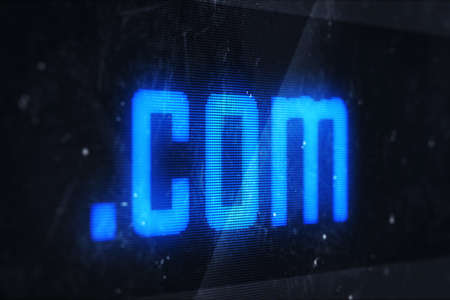3d illustration of com domain names and internet concept digital screen  illustration