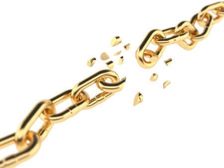 3d render of golden broken chain isolated on white background