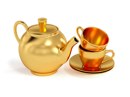 pot of gold: Set of golden cups and teapot isolated on white background  Stock Photo