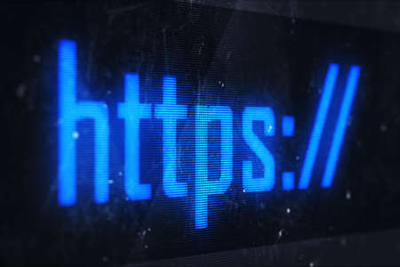 HTTPS concept. Business, technology, internet and networking concept - HTTPS text on virtual screens  photo