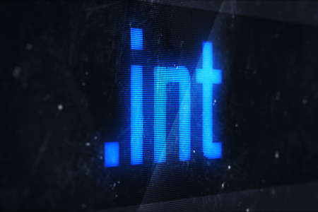 int: 3d illustration of int domain names and internet concept digital screen