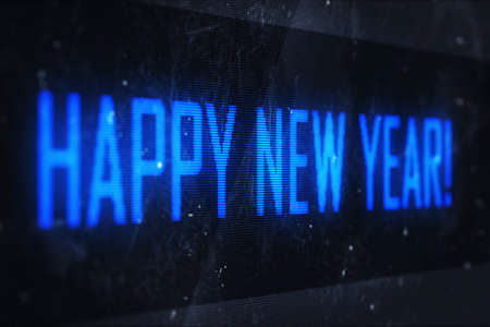 Happy New Year concept. Business, technology, internet and networking concept - HAPPY NEW YEAR text on virtual screens photo