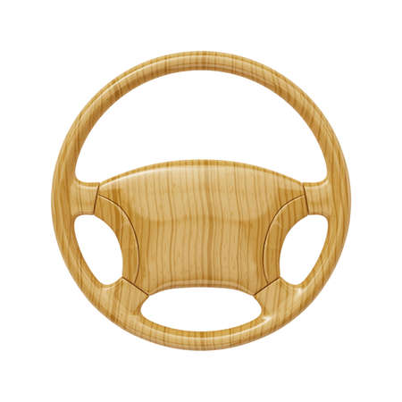 steering wheel: 3d render of wooden wheel isolated on white background