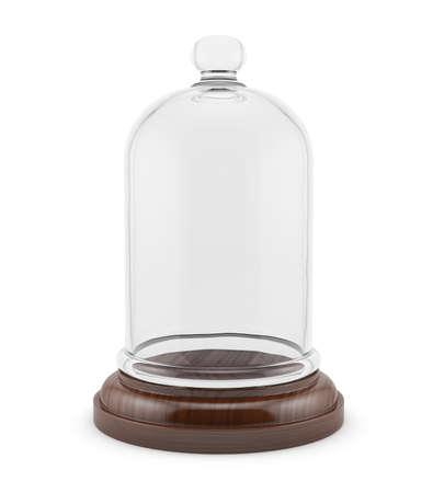 白い背景に分離したガラス キャップ付き木製ベルの 3 d レンダリング