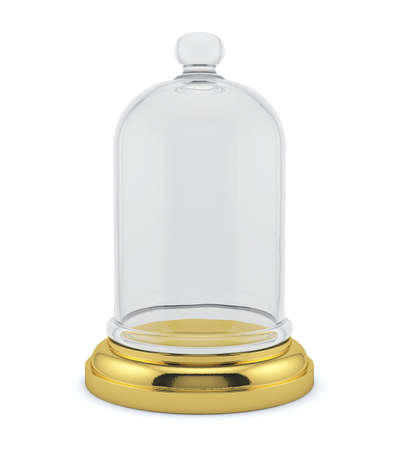 3d render of golden bell with glass cap isolated on white background photo
