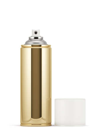 spray paint can: 3d render of blank golden spray paint can with cap Stock Photo