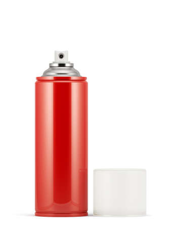 spray paint can: 3d render of blank red spray paint can with cap