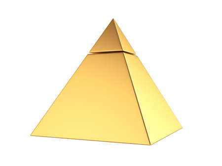 human pyramid: 3d render of golden pyramid isolated on white background